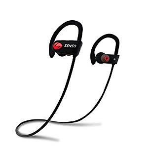 SENSO Bluetooth Headphones w/ Mic IPX7 Waterproof HD Stereo Sweatproof Earbuds