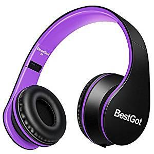 BestGot Headphones Over Ear with – Black/Purple