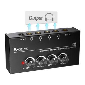 FIFINE Headphone Amplifier 4 Channels Metal Stereo Audio Amplifier, Mini Earphone Splitter