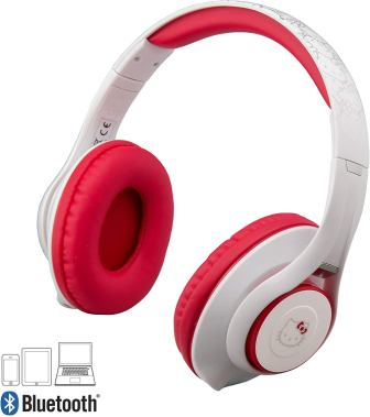 Hello Kitty Bluetooth Headphones with Microphone, Voice Activation and Bonus Auxiliary Cable, by eKid