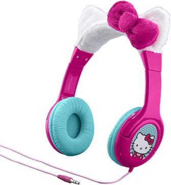 Hello Kitty Kid Friendly Headphones with Built in Volume Limiting Feature for Safe Listening, by eKid