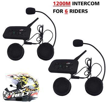 Motorcycle Helmet Bluetooth Intercom Headset, V6 BT 1200M