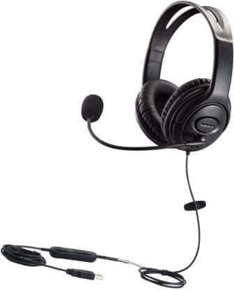 MKJ USB Headset Dual Ear Computer Headphones